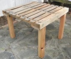 Simple pallet table would be great with a good pallet; they are not all made the same. But you could use this with no worries of messing it up...paint on it, do whatever. Plus it's great to recycle!