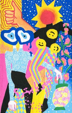 fun idea for a collage/ painting Psychedelic Art, Psychedelic Pattern, Photo Wall Collage, Collage Art, Painting Collage, Whats Wallpaper, Posca Marker, Posca Art, Hippie Art
