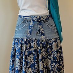 Handmade Jeans Skirt - Upcycled Denim and Paisley Printed Cotton