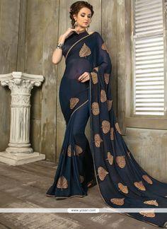 Faux Chiffon Resham Work Designer Saree Dress Formal, Formal Wear, Georgette Sarees, Silk Sarees, Velvet Saree, Designer Sarees Online, Saree Look, Indian Ethnic Wear, Party Wear Sarees