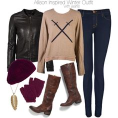 """Allison Inspired Winter Outfit with Jeans"" by veterization on Polyvore"