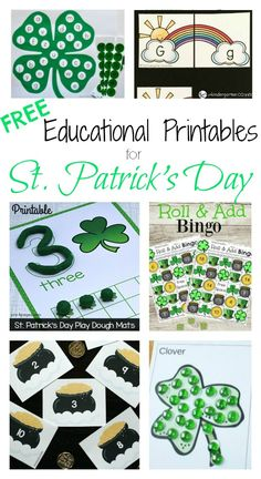 10 FREE Educational Printables for St. Patrick's Day. Math games, alphabet activities... lots of fun ideas!