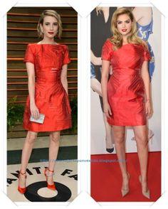 Un vestido rojo de Fendi primavera 2014 lo llevo Emma Roberts a la fiesta Vanity Fair; después se lo hemos visto a Kate Upton en la premiere de Other Woman.
