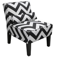 Chevron Accent Chair for living room ... Black/white with green pillow?
