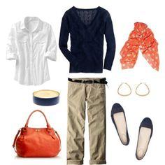 Navy, Orange and Khaki
