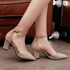 Item Pair Shoes Only (Shoes Without Box). Shoes Heels Pumps, Ankle Strap Sandals, Low Heels, Black Heels, Ankle Straps, Suede Pumps, Womens Summer Shoes, Womens High Heels, Black Work Shoes Women