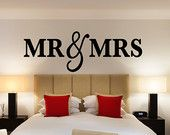 Mr & Mrs Wall Sign Above Bed Decor - Mr and Mrs Sign for Over Headboard - Home Decor Bedroom Christmas Gift (Item - MMW100)