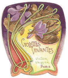 Art Nouveau Violettes Perfume Label, ca. Vintage Labels, Vintage Ephemera, Vintage Ads, Vintage Packaging, Soap Packaging, Antique Perfume Bottles, Vintage Perfume, Vintage Pictures, Vintage Images