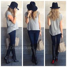 .@upcloseandstylish | Yesterday -  #Haute_Hippie tee, #AG maternity jeans, #Louboutin 'Armurabotta'...