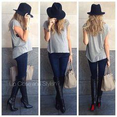 .@upcloseandstylish   Yesterday -  #Haute_Hippie tee, #AG maternity jeans, #Louboutin 'Armurabotta'...