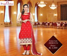 #Red is the Colour of Boldness. Choose the Perfect #SalwarKameez.  For More Visit : www.drapeethnic.com  #DrapeEthnic