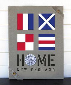 New England Home - tavlor i valfri storlek med signalflaggor och riktig ankarlina målade på sliten canvas.