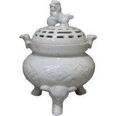 Japanese Vintage Arita Mikawachi Hirado Porcelain  Hajuki Koro/ Incense Burner w/ Shishi Dog and Elephant Legs
