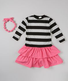 Pink Stripe Tiered Dress & Necklace - Infant, Toddler & Girls by Little Miss Fashion #zulily #zulilyfinds