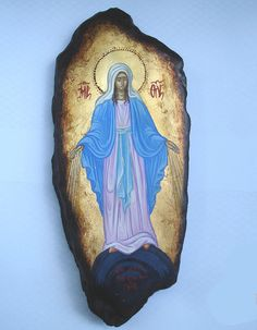 ORIGINAL ICON.religious catholic icons Miraculous Medal . Hand painted icon 25x17cm. greek icon.vintang old wood