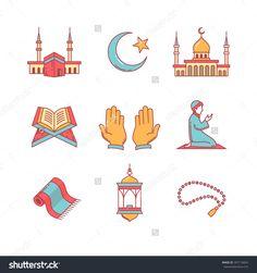stock-vector-muslim-islam-prayer-and-ramadan-kareem-thin-line-icons-set-modern-flat-style-symbols-isolated-on-307116824.jpg (1500×1600)