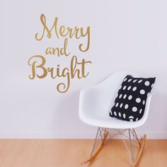 Merry And Bright Vinyl Wall Decal Metallic Gold White Christmas Decals Holiday Decor