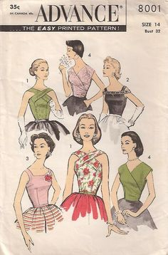 Advance 8001.  View 1: Fitted with high crisscross neckline in front, low scoop in back. Princess seamed; side zipper. View 2: Fitted overblouse with square neckline. The bodice cuff band is trimmed with optional purchased sequins or beads. Side zipper. View 3: Same as 2, without band. View 4: Waistline blouse, surplice front finished with gathers at the side. V-neck back. Drop shoulder armhole; center back zipper.
