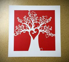 Great artist piece - check out the hearts you can fill in names and frame it or use in a scrapbook. Unconditional Love Papercut Family Heart Tree, Original Art, Celebrate Your Love In A Unique & Stunning Way. $39.00, via Etsy.