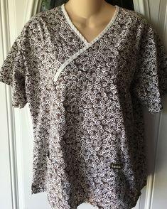 5baa8fb321d Landau Scrub Top Sz Medium Womens Mock Wrap Medical Scrub Top Brown Swirls  #fashion #