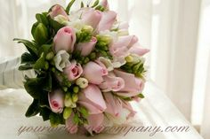 Pink Roses, White Freesia + Buds Wedding Bouquet