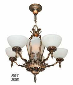 Antique Restored Red-Bronzed Finished Art Deco Chandelier A true high-end quality, original, cast iron, antique frame with a lovely reddish bronzed finish Circa 1935.  (ANT-335) https://www.vintagehardware.com/proddetail.php?prod=ANT-335
