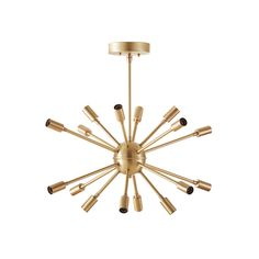 Add a burst of retro charm to your room with this brass stunner.  We work directly with the designer to offer the chandelier, which is handmade to order and features sixteen sockets for bulbs.  We like...  Find the Starburst Sputnik Chandelier, as seen in the A Mid-Century Time Capsule in Oakland Collection at http://dotandbo.com/collections/a-mid-century-time-capsule-in-oakland?utm_source=pinterest&utm_medium=organic&db_sku=LLS0001