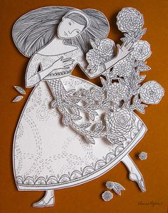 Illustrated Ladies (clairemojher: Cut and layered paper, drawn with graphite)