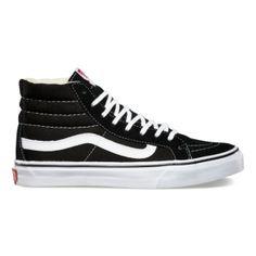 I WANT THESE SO BAD!! Vans Sk8-Hi Slim - Black/True White