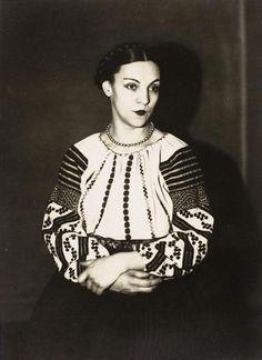 Romanian actress Genica Athanasiou (nee Ioana Athanasiu), was Man Ray's and Antonin Artoud's muse - Centre Pompidou, Musee d'Art Moderne, Paris   via Otilia-Florenta Voicu #Romania #RomanianBlouse