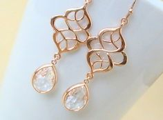 Rose Gold Earrings Wedding Gift Chandelier by Crystalshadow