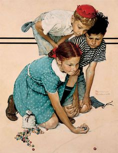 "Norman Rockwell, ""Marbles Champion"" c.1939 – The Lucas Museum of Narrative Art"