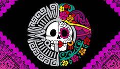 Day of the Dead/ Aztec Design Mexican Skulls, Mexican Folk Art, Day Of The Dead Art, Skeleton Art, Skeleton Makeup, Skull Makeup, Mexico Art, Aztec Art, Sugar Skull Art