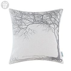 CaliTime Cushion Cover Throw Pillow Shell Vintage Big Old Tree 18 X 18 Inches Gray (*Amazon Partner-Link)