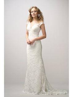 Elegant Sheath V-neck Court Train Lace Wedding Dress - Didobridal