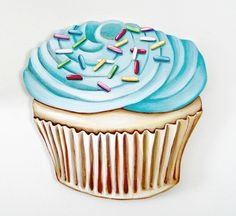 JUMBO Blue Buttercream frosted Cupcake wood diecut by Everyday is a Holiday