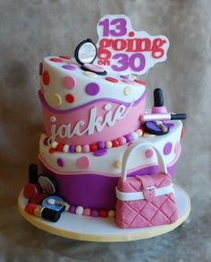 13 Going on 30 Birthday Cake! - This was a two tiered topsy turvy cake...vanilla bean cake with health bar crunch buttercream!  Jackie had an awesome party at the Four Seasons in San Francisco, every young girl's dream birthday!