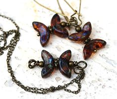 Rustic Jewelry Set - brown Butterflies Necklace and Earrings on antique brass, chain, by MayaHoney