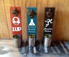 Wall Mounted Bottle Opener Groomsman Gift Man Cave by TheRedGoatee