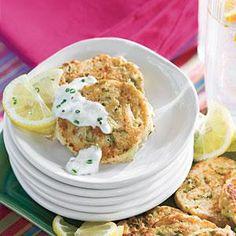 Mini Crab Cakes With Garlic-Chive Sauce | MyRecipes.com