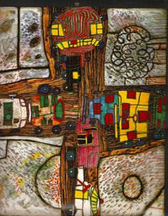 How fascinating it is to see the world through Hundertwasser's eyes! Pablo Picasso, Friedensreich Hundertwasser, Art Brut, Art Graphique, Outsider Art, Contemporary Paintings, Art And Architecture, Art Education, Love Art