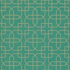 Turquoise Green / Gold - DOPWSI105 - Siam Trellis - Options 10 - Sanderson Wallpaper