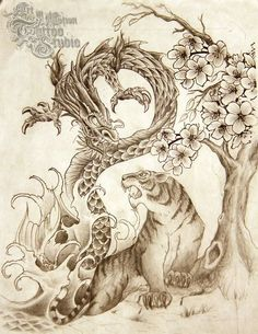 The tiger and dragon are ancient symbols of yin and yang, forces that combine to make up the universe. Description from aimtattoonj.com. I searched for this on bing.com/images