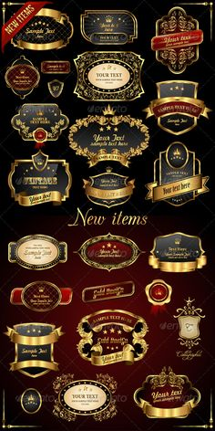 Buy Retro Vector Gold Frames on Black Background by Designer_things on GraphicRiver. Retro vector gold frames on black background. Updated 22 August 2012 Now it is: 25 JPG files. Badge Design, Label Design, Web Design, Graphic Design, Rainbow Background, Luxury Logo, Cafe Logo, Retro Vector, Seamless Background