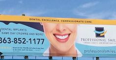 We are so excited about this! Our new billboard is up! Have you seen it? It's on Highway 27. Really close to our office. Can't miss it. If you like our billboard you will love our office. Call us for all your dental needs at 877-634-6722 #professionalsmiles #dentist #smile #smilemakeover #bestsmile #happy #centralfl #celebrationfl #davenport #loveyourdentist #floss #crown #dentalimplants #hygiene #whitesmile #newbillboard #thankyou #weloveourpatients #happypatients #inspiration #amazing…