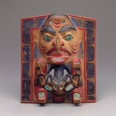 Painted Wood Carving, Haida, Dogfish frontlet, ca. 1860.