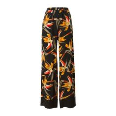 FENDI Bird of Paradise Flower Print Trousers (15.621.200 VND) ❤ liked on Polyvore featuring pants, black, fendi, high waisted floral pants, high-waisted wide leg pants, high waisted wide leg pants and high-waisted trousers