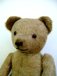 Turn of the century folk art articulated teddy bear mohair primitive country early american excelsior sawdust stuffed