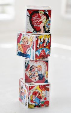 Retro Valentines Decorative Wooden Blocks by birdsANDblossomsGift, $16.00