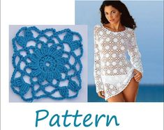 Beach cover up Crochet tunic pattern xxl by EasyNadiaPatterns